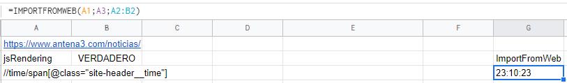 Ejemplo de fórmula de ImportFromWeb