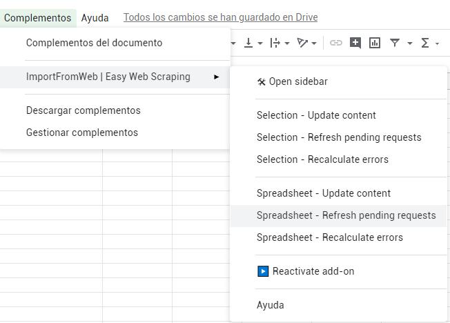 Refrescar solicitud de scrapeo con renderizado de JavaScript habilitado.